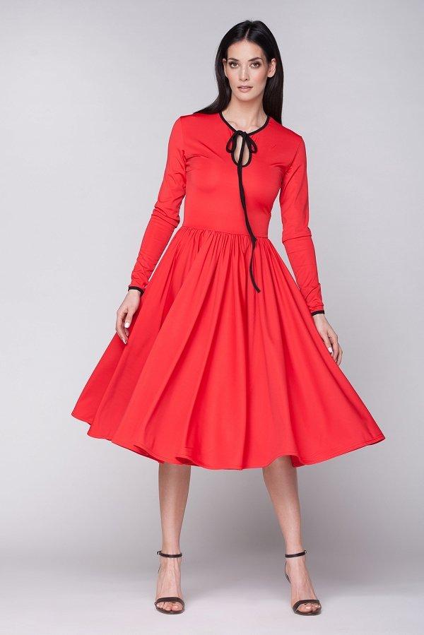Dámske retro šaty - Červená  b14e1a6715