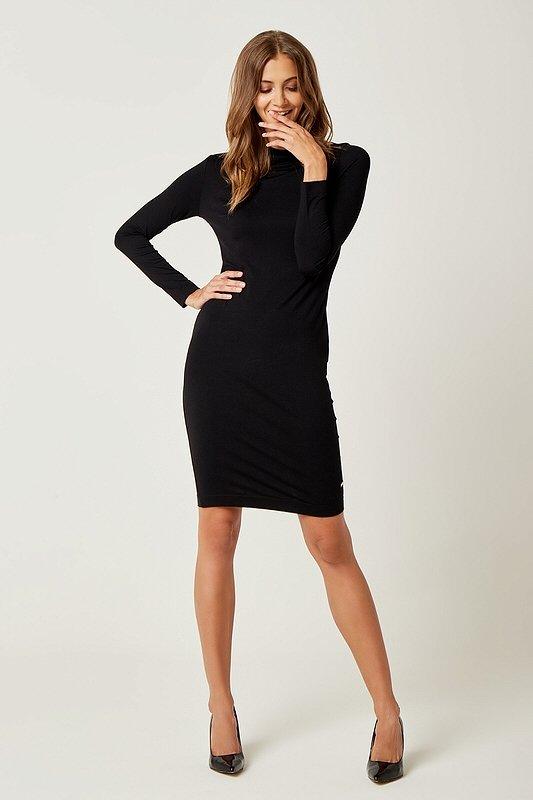 Dámske šaty s dlhým rukávom Sexi Basic - Čierne  52054f6b530