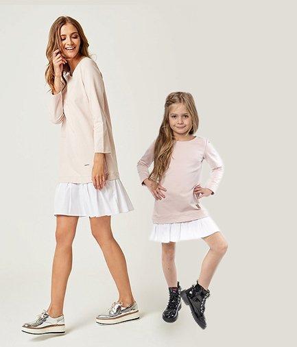 e94abf93856a Set štýlové voľnočasové šaty mama a dcéra Be happy - Púdrovo ružové ...