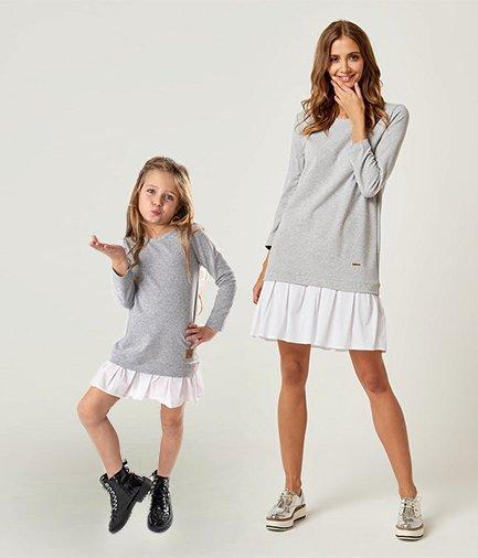 f6a40234a7b5 Set štýlové voľnočasové šaty mama a dcéra Be happy - Sivé