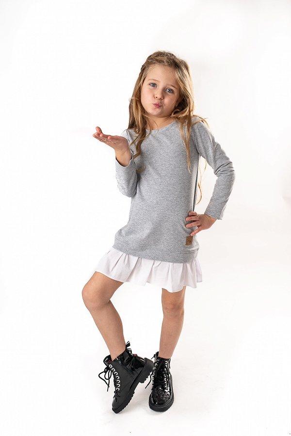 ab52181b8137 Štýlové detské voľnočasové šaty Be happy - Sivé