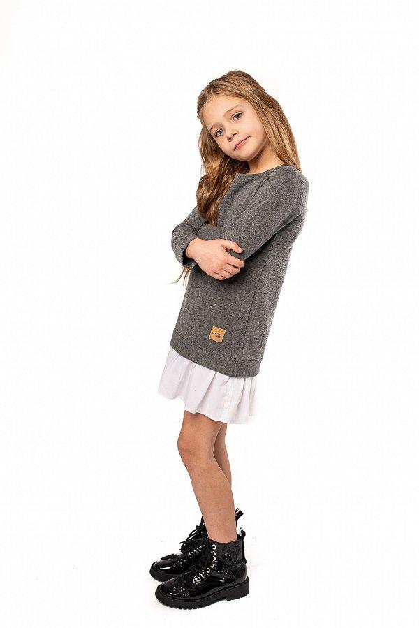 a1fafbd94c6e Štýlové detské voľnočasové šaty Be happy - Tmavosivé